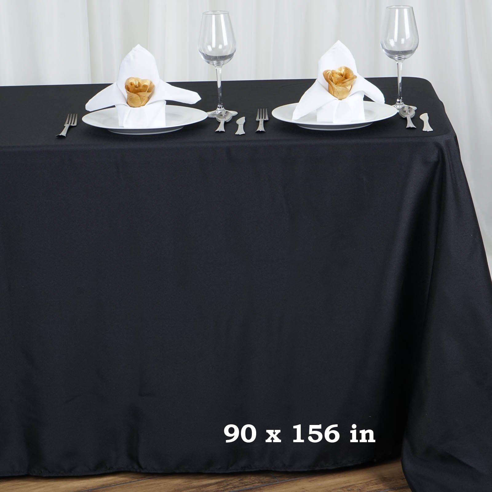 LinenTablecloth 90 x 156-Inch Rectangular Polyester Tablecloth Black