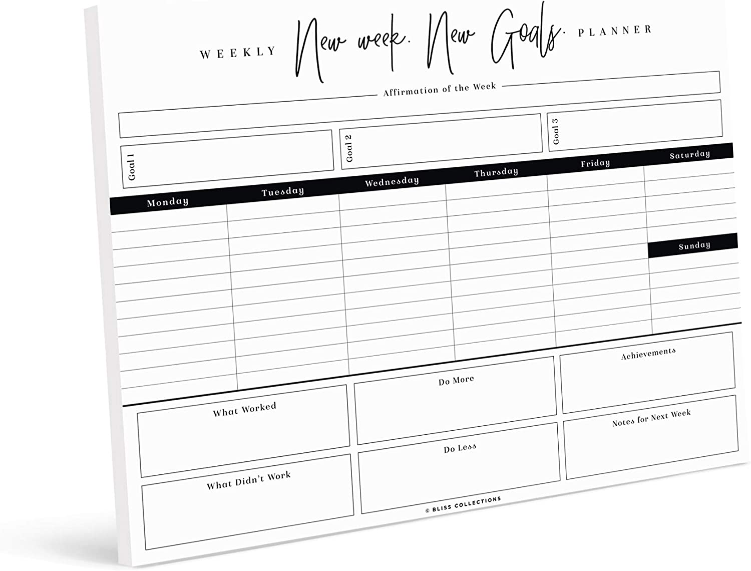 Bliss Collections Weekly Planner, 50 Undated Tear-Off Sheets - 8.5x11 New Week New Goals Calendar, Organizer, Scheduler, Productivity Tracker for Organizing Goals, Tasks, Ideas, Notes, To Do Lists