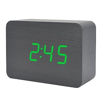 Hölzerne Uhr LED Digital Zeit Temperatur Datum Alternative Anzeige Desktop  Familie Schlafzimmer Elektronische Reise Wecker Mit