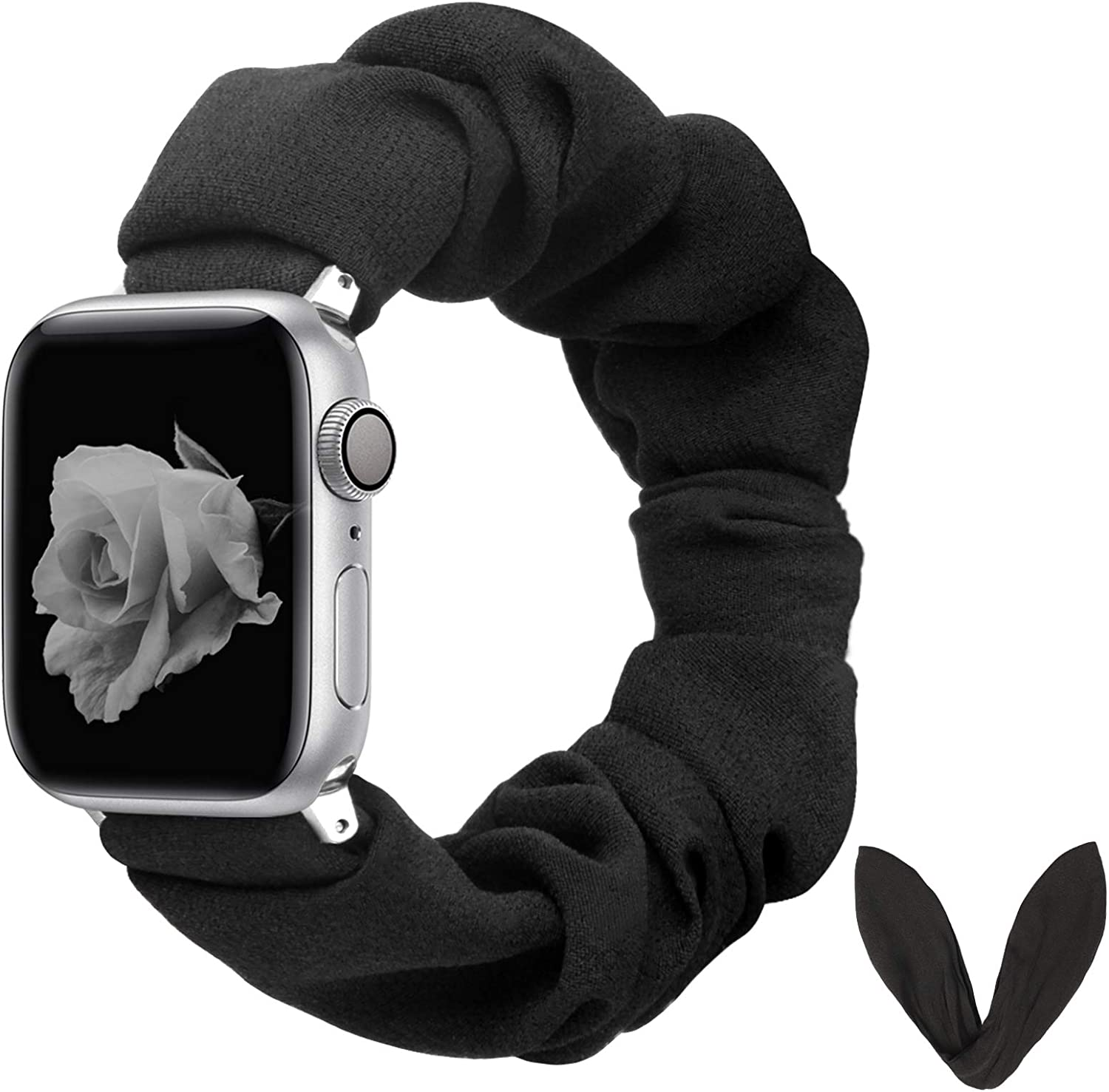 BMBEAR Compatible with Apple Watch Band Scrunchies 38/40mm with Bunny Ears Cloth Fabric Elastic Scrunchy Wristband Bracelet Women iWatch Series 5 4 3 2 1 Black