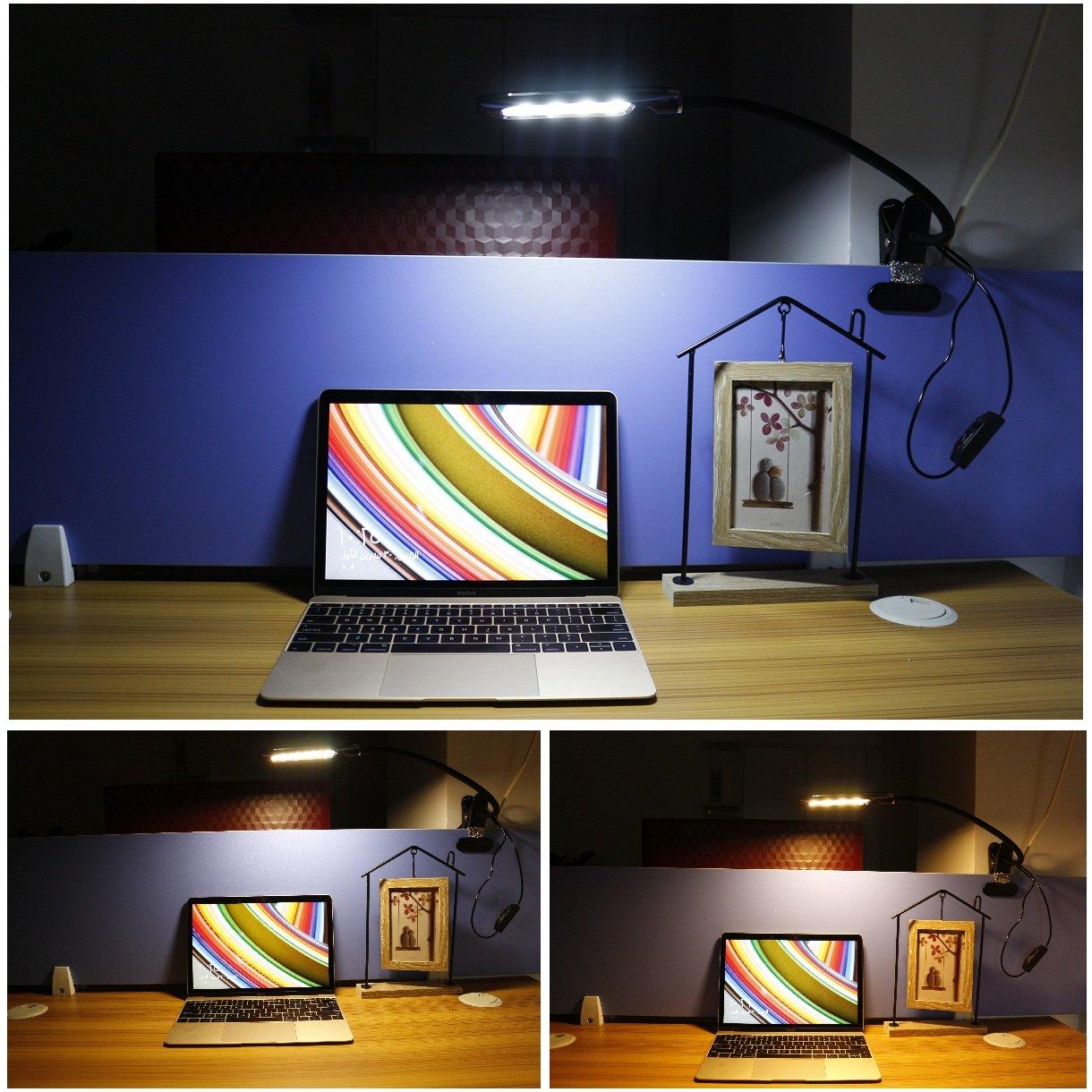 Leselampe Klemmen, LUXJET® LED Klemmlampe,Schreibtischlampe USB Buchlampe mit 24 LED,LED Klemmleuchte mit 2 Helligkeitstufe und 3 Lichtfarbe,360° Flexibel Schwanenhals Leselampe für Schlafzimmer Büro