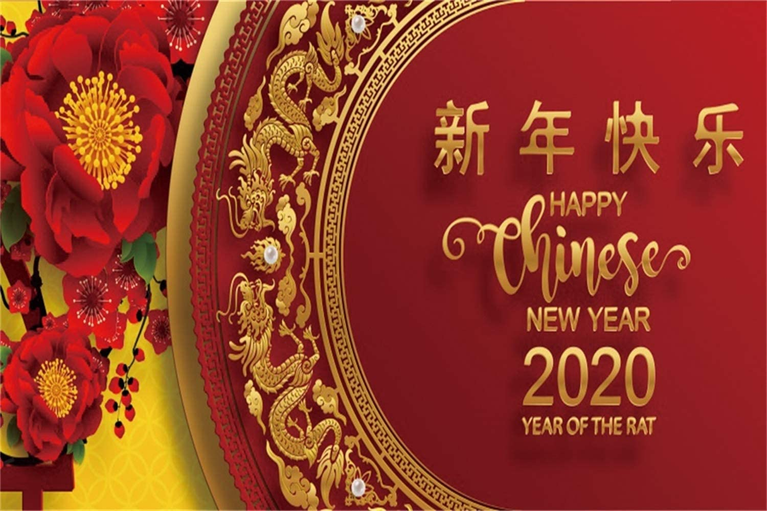Leowefowa 20x10ft Happy Chinese New Year 2020 Year of The Rat Backdrop for Photography Vinyl Chinese Style Golden Dragon Patterns Red Peony Flowers Background New Year Party Banner Greeting Card