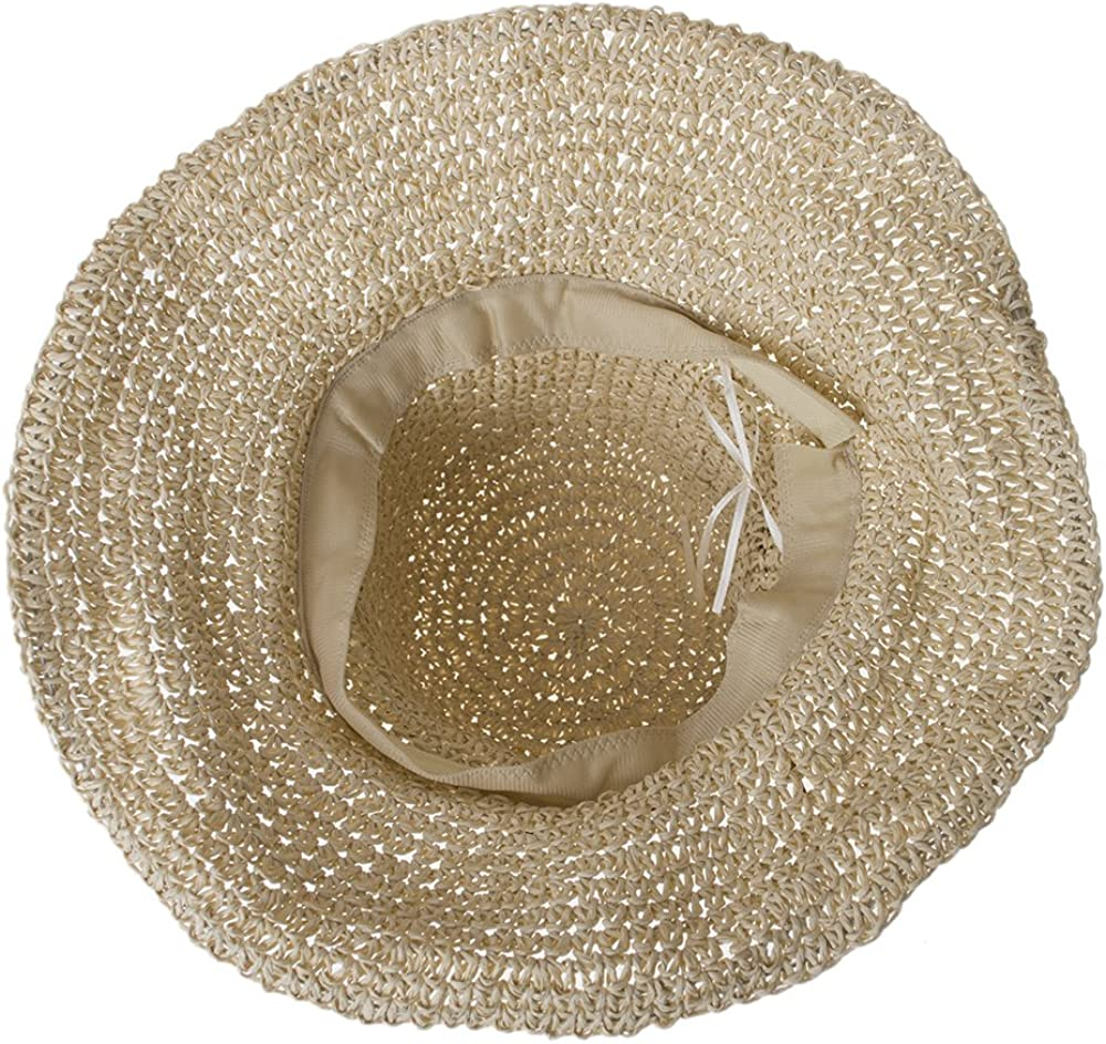Opromo Womens Wide Brim Caps Foldable Hollow Straw Hat Summer Beach Sun Hats