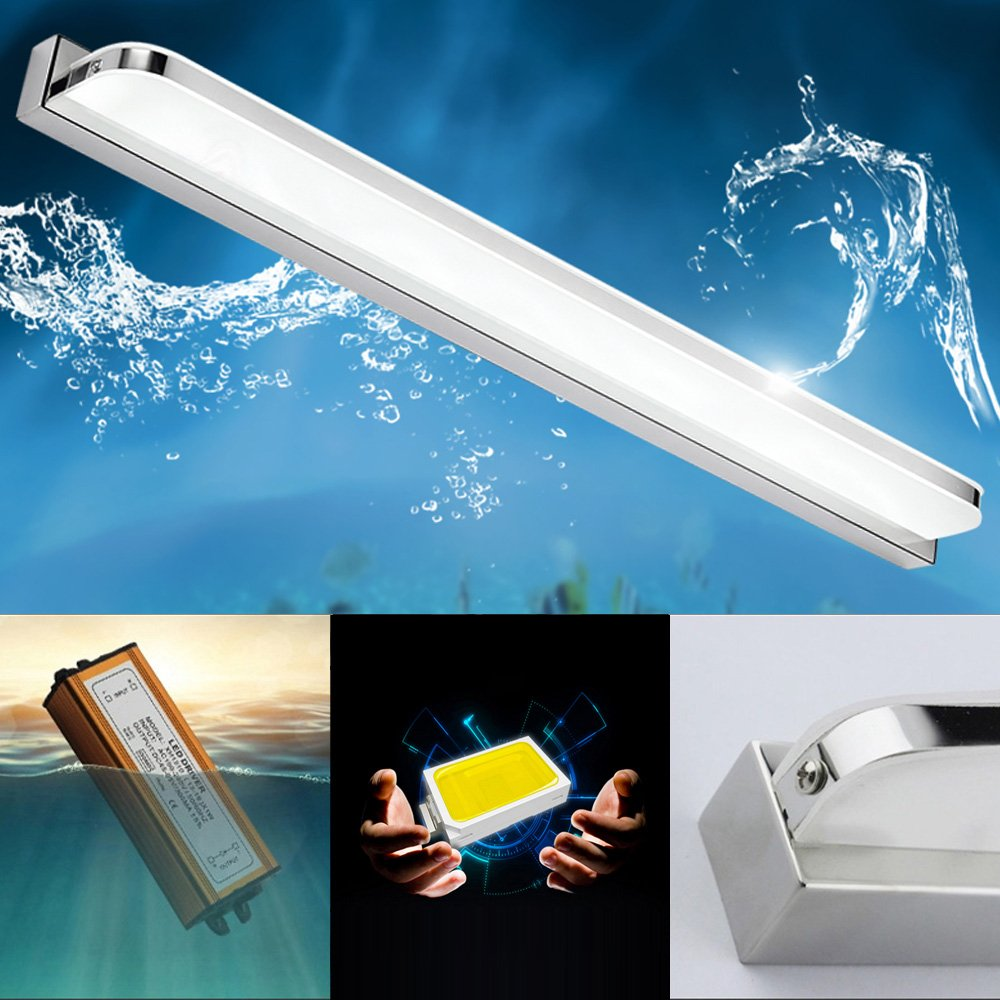 7 W LED Mirror Light IP44 Bathroom Mirror Light Stainless Steel Lamp Shade Acrylic Bathroom Light Picture Light Under Cabinet Light, Wall Light, Warm White 3000 K, 490 Lumen, L 40 cm [Energy Class A++] ZLND