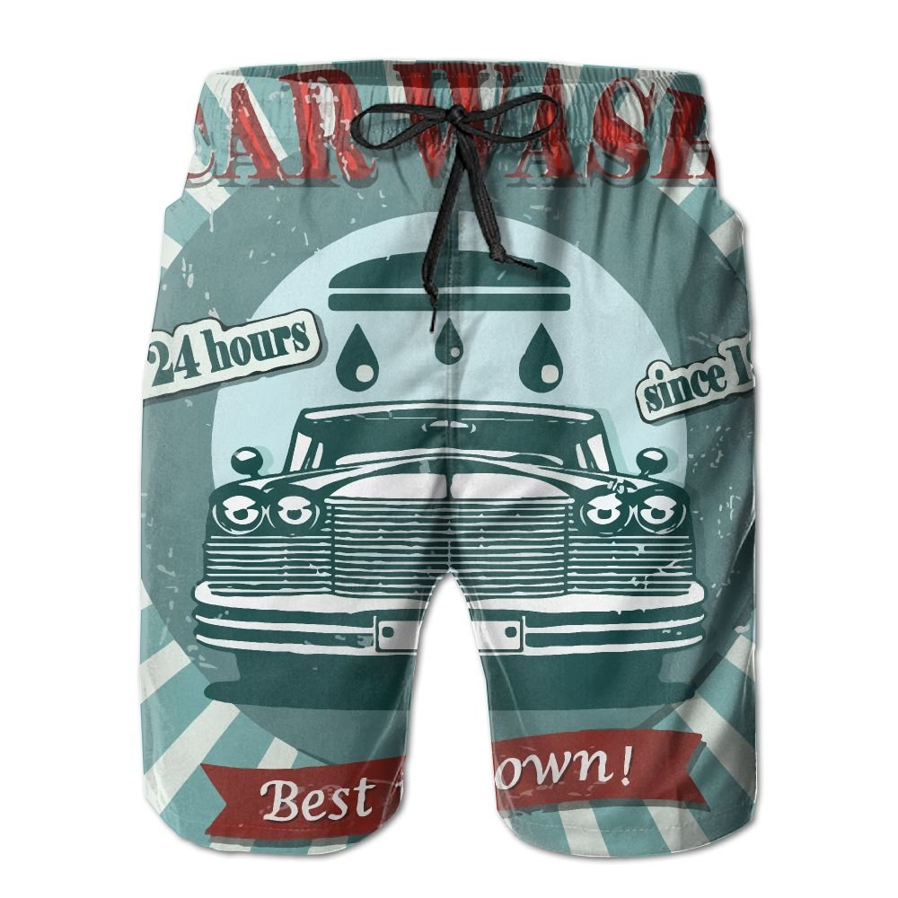 NGFF Retro Car Posters Summer Casual Style Adjustable Beach Home Sport Shorts