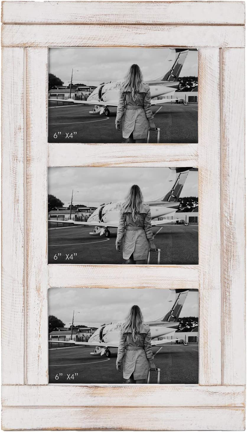 RiteSune Rustic White Wood Collage Picture Photo Frame Wall Mounted Display Three 4x6 Photos