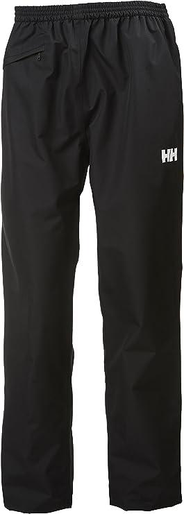 A black waterproof rai pants, garterized waist, with product logo stitched on one side.