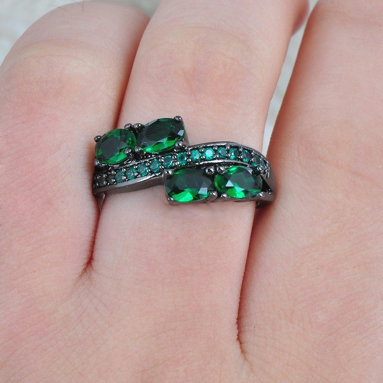 Amazon.com: JunXin Black Gold Emerald Green CZ May Birthstone Ring ...