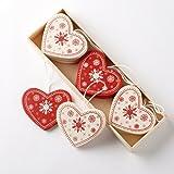 Heaven Sends - Scatola con 12 decorazioni in legno per albero di Natale, a forma di cuore, stile vintage, colore: rosso/panna