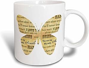3dRose You are my sunshine inspirational Butterfly Ceramic Mug, 11 oz, White