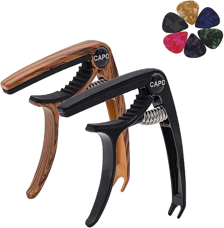 Cmonami Cejilla de guitarra 2 piezas, ukelele, guitarra folclórica, guitarra eléctrica, Todos los tipos de instrumentos de cuerdas de bajo con 6 Púas - Negro, Madera Color