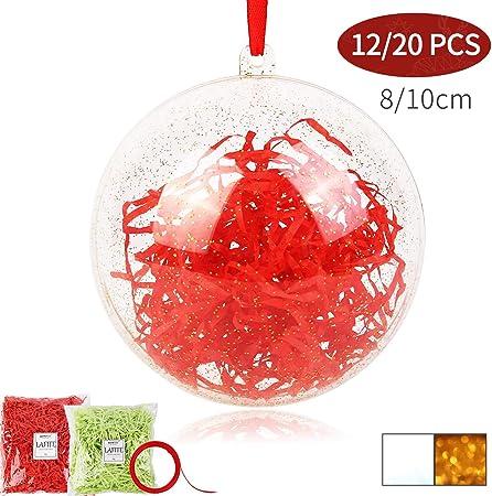 20Pcs Boules de Noël Arbre Sapin Transparente Plastique Mariage Fête Déco xmas