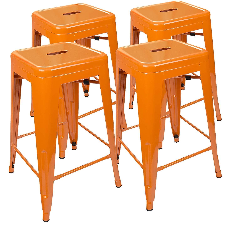 UrbanMod 24 Inch Bar Stools for Kitchen Counter Height, Indoor Outdoor Metal, Set of 4,Orange