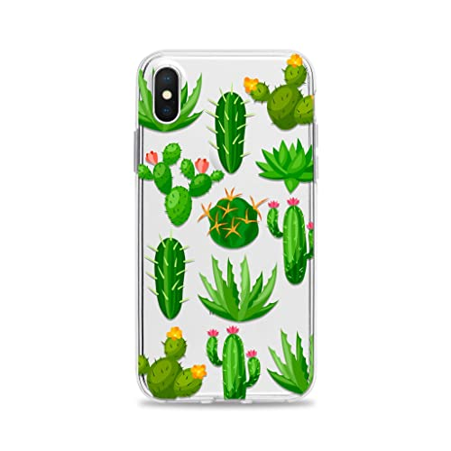 f25f630ec6c Amazon.com  Cactus Clear Phone Case with Cacti Design for Apple iPhone XS  Max XR X 10S 10R 10 8 Plus 7 6s 6 SE 5s 5 Transparent Rubber  Handmade