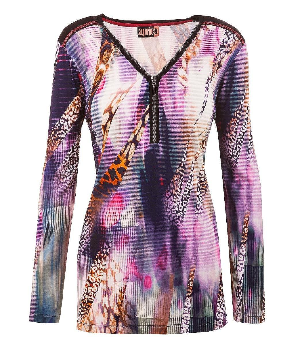 Baumwolle Aprico Damen Langarm Tunika Shirt mit Reißverschluss Bunt gestreift