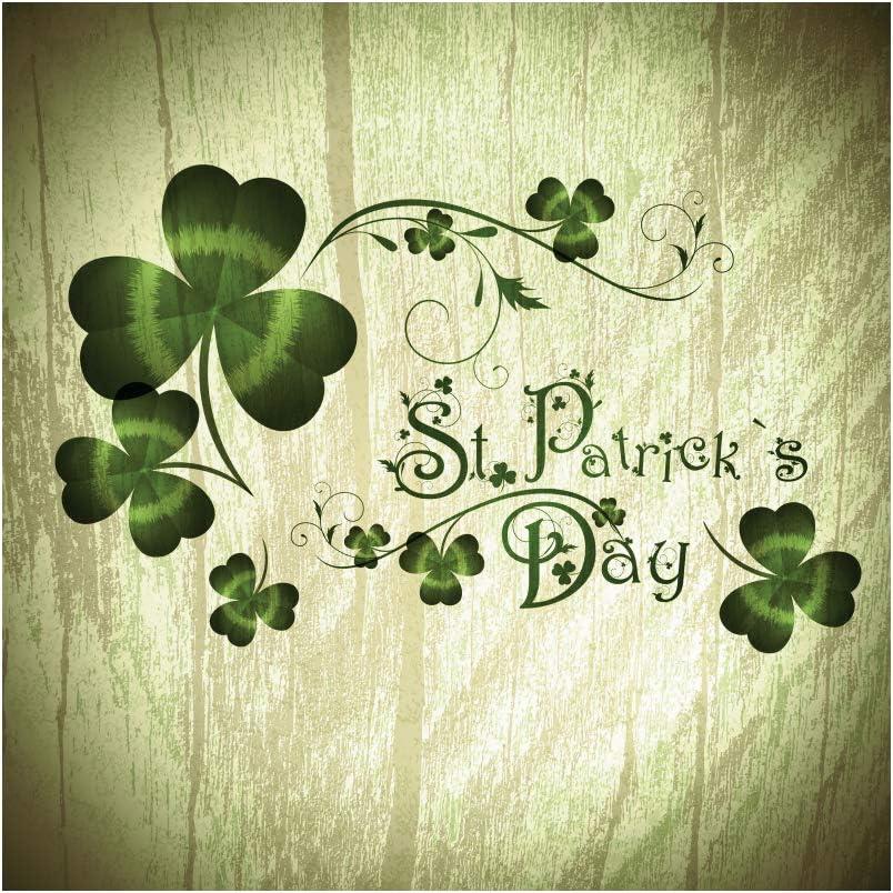 Leyiyi 4x4ft St.Patricks Day Backdrop Lucky Shamrock Retro Wooden Board Photography Background Magic Green Leaf Polyester Photo Studio Props