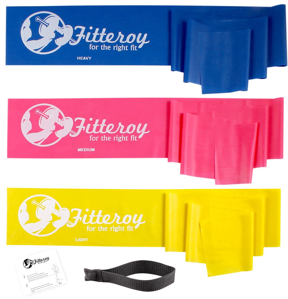 Therapy Resistance Exercise Stretch Bands with Door Anchor & Instruction Sheet. Use for Strength Training, Pilates, Rehab