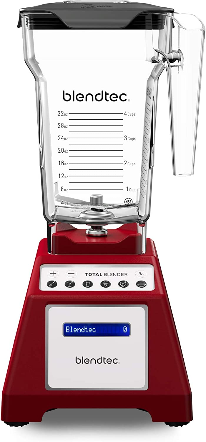 Blendtec Total Classic Original Blender - Fourside Jar (75 oz) - Professional-Grade Power - 6 Pre-programmed Cycles - 10-Speeds - Red