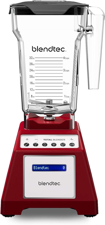 Blendtec Total Classic Original Blender - Fourside Jar (75 oz) - Professional-Grade Power - 6 Pre-programmed Cycles - 10-Speeds - Red