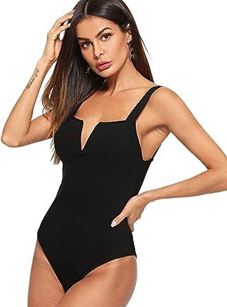 Womens Plain Scoop Neck Low Side Backless Sleeveless Ladies Leotard Bodysuit Top