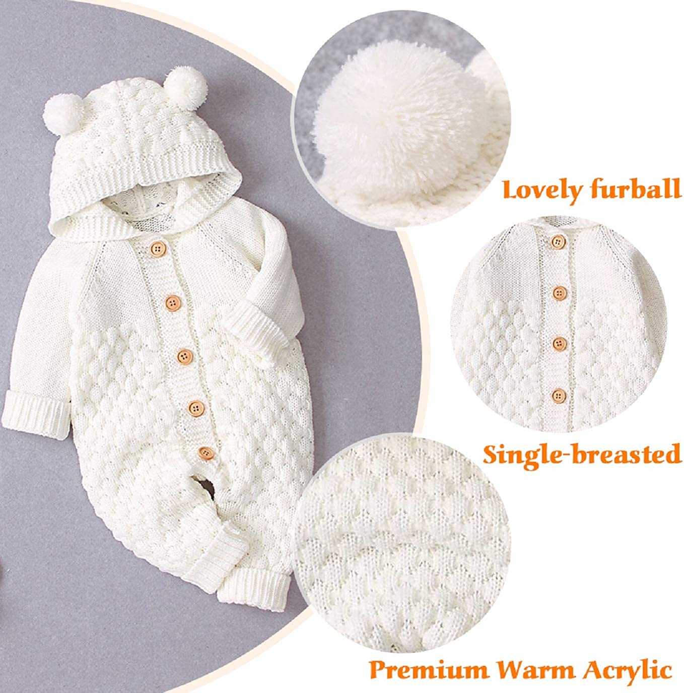 UMIPUBO Toddler Baby Hooded Knitted Rompers Newborn Girls Boys Onesies  Winter Warm Button Sweater Jumpsuit Outfits 3-24 Months Baby Clothing  Bodysuits & One-Pieces