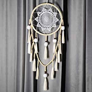 Seetop Bohemian Dream Catcher Handmade Tassel Dreamcatcher, Large Wall Hanging Decor Traditional Home Decoration with Colorful Tassel White