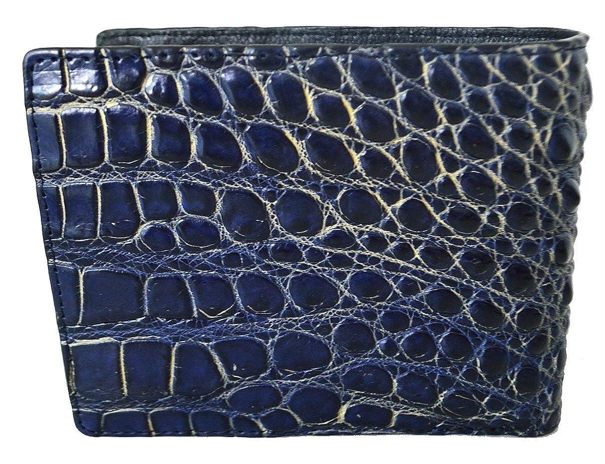 Authentic Siamese Crocodile Skin Mens Bifold Big Head Leather Dark Blue Wallet