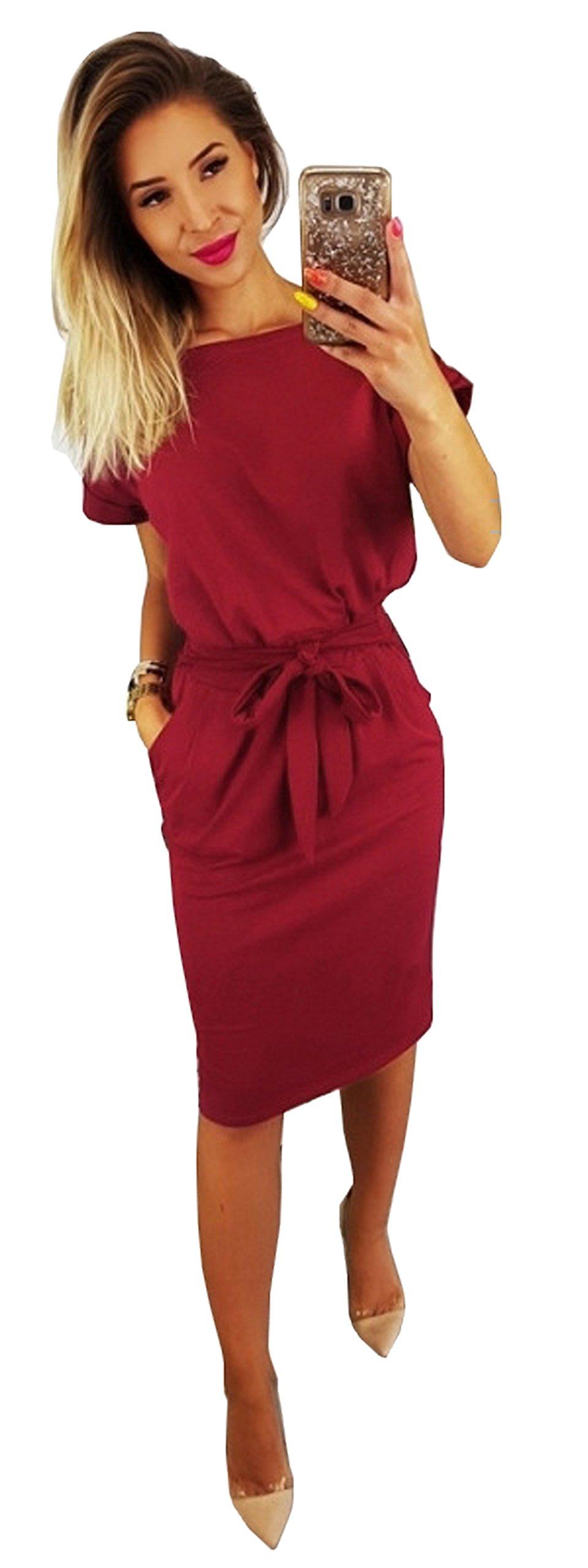 Longwu Women's Elegant Short Sleeve Wear to Work Casual Pencil Dress with Belt Wine Red-S