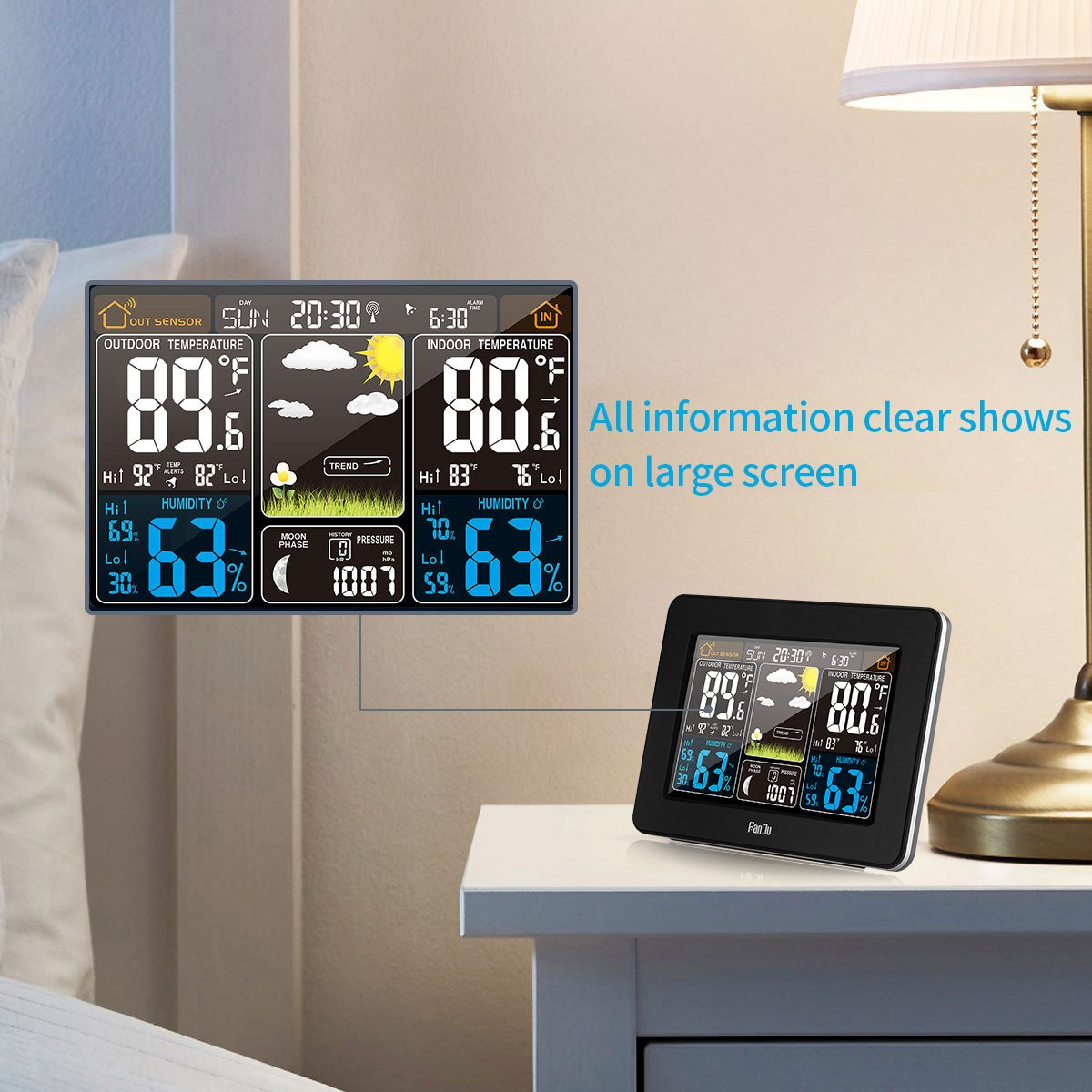 FanJu FJ3365B Digital Color Forecast Weather Station with Alert and Temperature/Humidity/Barometer/Alarm/Moon phase/Weather Clock with Outdoor Sensor by FanJu (Image #3)