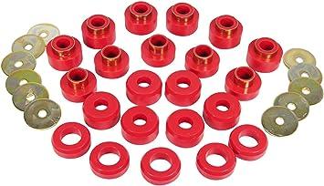 Prothane 1-107 Red Body Mount Bushing Kit for CJ5 YJ and TJ CJ8 22 Piece CJ7