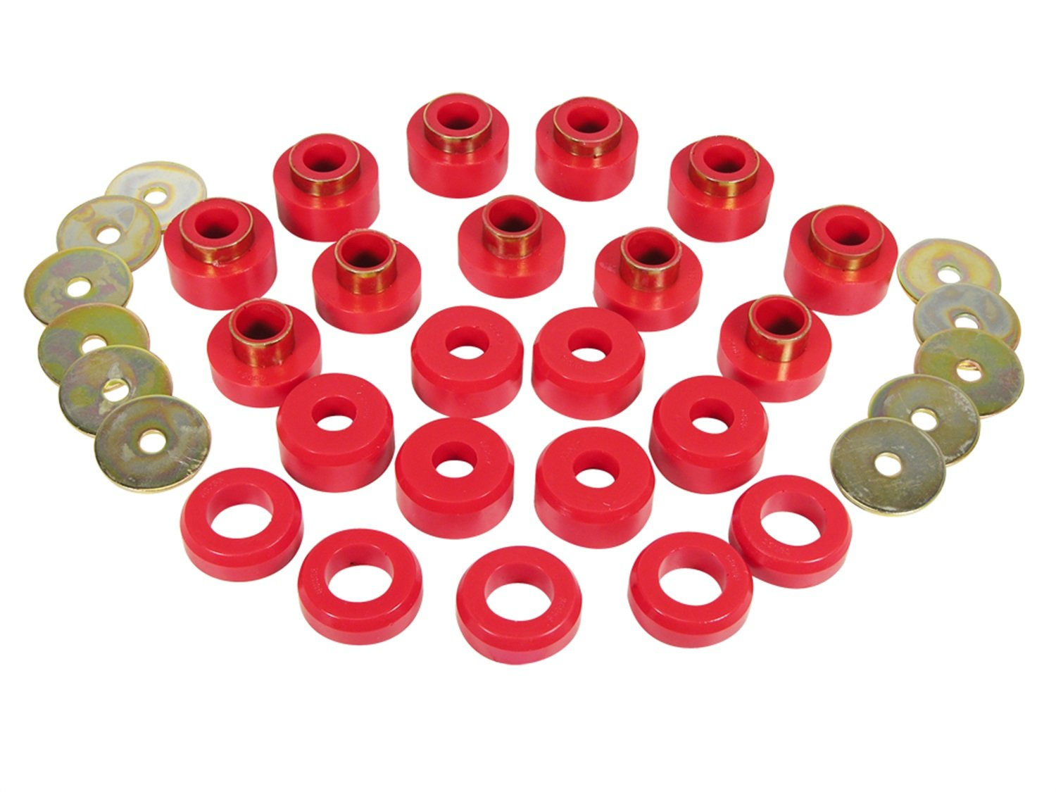 Prothane 1-107 Red Body Mount Bushing Kit for CJ5, CJ7, CJ8, YJ and TJ - 22 Piece
