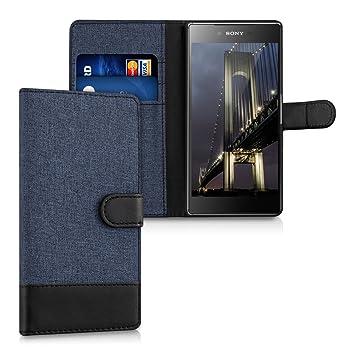 kwmobile Funda para Sony Xperia Z5 Premium - Carcasa de Tela y [Cuero sintético] - con Tapa y [Tarjetero] [Azul Oscuro/Negro]