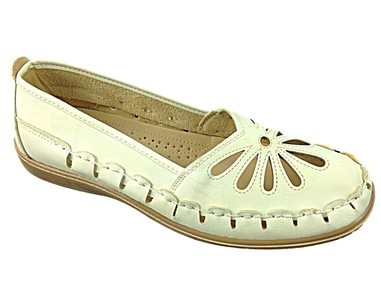 Foster Footwear flache Mokassins für Damen, lasergeschnitten, 35,5 legerer Sommerschuh, Sandalen, Größe 35,5 lasergeschnitten, – 42  35.5 EU|Wei? 772418