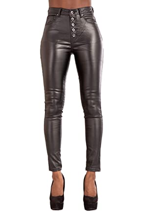 ad8fc1e6fc7f Image Unavailable. Image not available for. Colour: Glook Womens Leather  Look Trousers High Waist Slim Fit Skinny Butt Lifting Black Jeans
