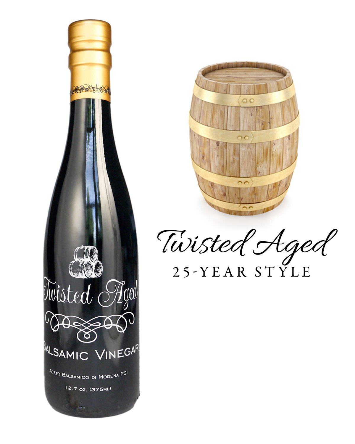 Twisted Olive Imports, Vinegar Aged Balsamic 25 Year, 12.68 Fl Oz 1 Aged Balsamic Vinegar from Modena, Italy Compare to 25 Year Style Barrel-Aged Contains Sulfites