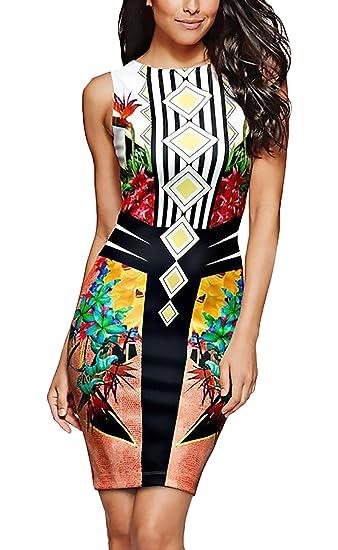 Vestido Coctel Mujer Vestidos De Fiesta Cortos Elegantes Clásico Especial Impresión Moda Sin Mangas Cuello Redondo Slim Fit Vestidos Verano Vestidos Cortos: ...