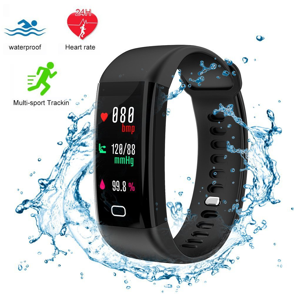 Fitness Tracker,Bluetooth4.0 Waterproof Smart Watch with Heart Rate Monitor Color Screen Tracker Watch IP68 Wristband Activity Tracker Pedometer Sleep Monitor Calorie Counter (Black) by BAIZE