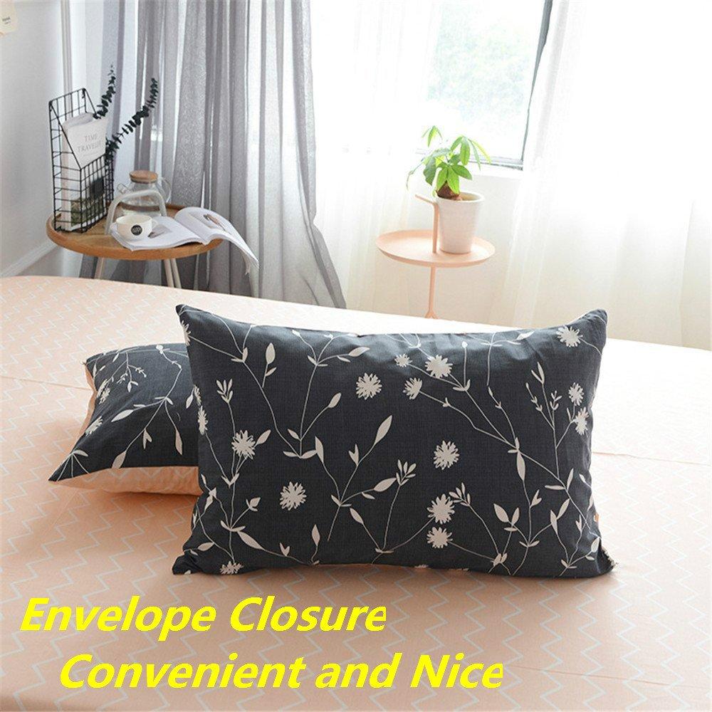 Comfy,Zipper Closure,4 Corners Ties-Cactus,Queen PinkMemory Queen Duvet Cover Cotton Bedding Set Gray Reversible Cactus Printing Stripe Design