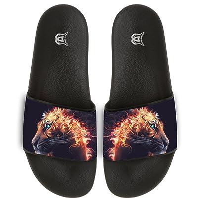 Lion Fire Big Cat Slippers Skid-proof Indoor Outdoor Flat Flip Flops Beach Pool Slide Sandals For Men Women