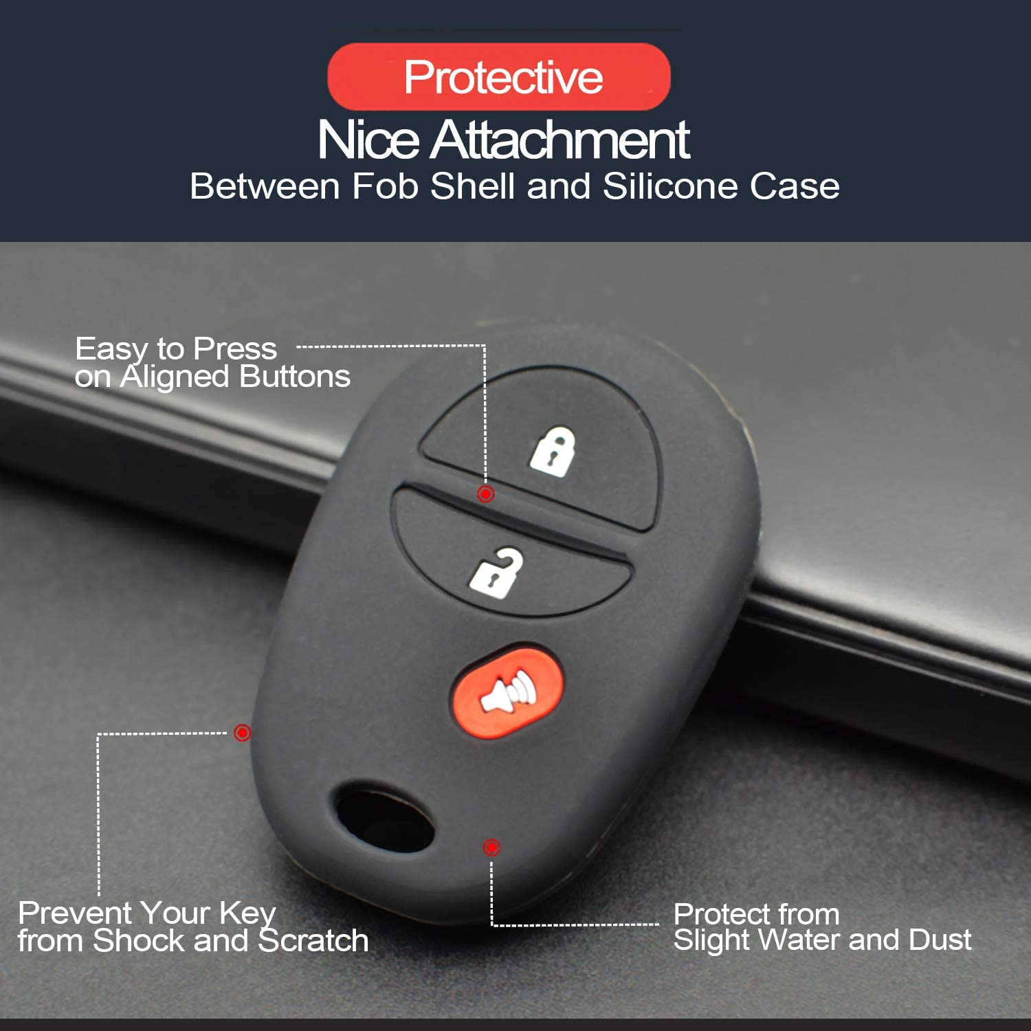 GQ43VT20T 2x Key Fob Keyless Entry Remote Cover Protector for Toyota Van