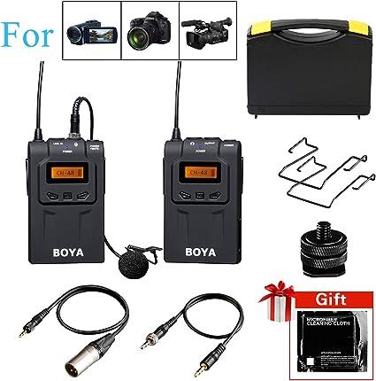 Amazon Com Wireless Lavalier Microphone Dslr Boya By Wm6 Uhf