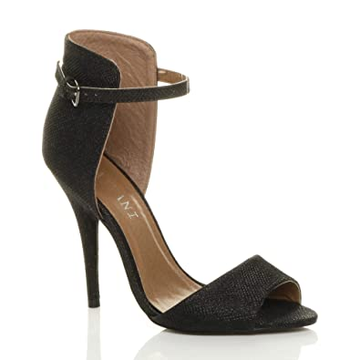 54d33c00c70 Ajvani Womens ladies high heel contrast two tone ankle cuff strap sandals  size 3 36