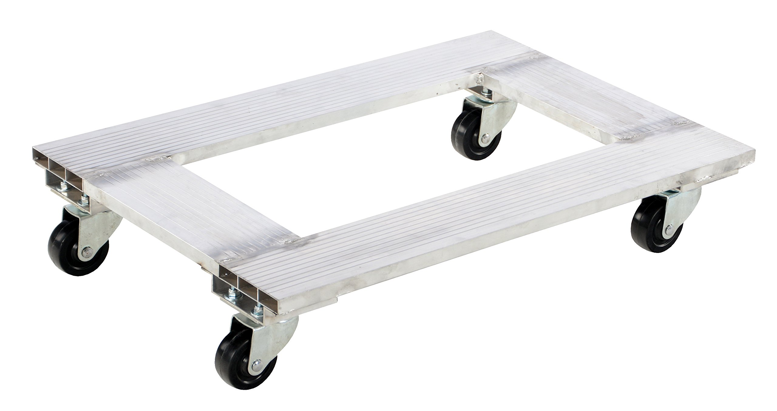 Vestil ACP-2130-9 Aluminum Channel Dolly with Hard Rubber Caster, 900 lbs Capacity, 30'' Length x 21'' Width x 6'' Height Deck
