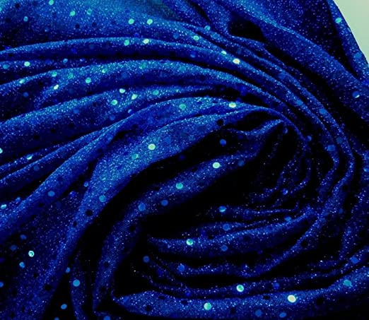 G18 Shiny Blue Sequin Fabric Nylon Material by Meter