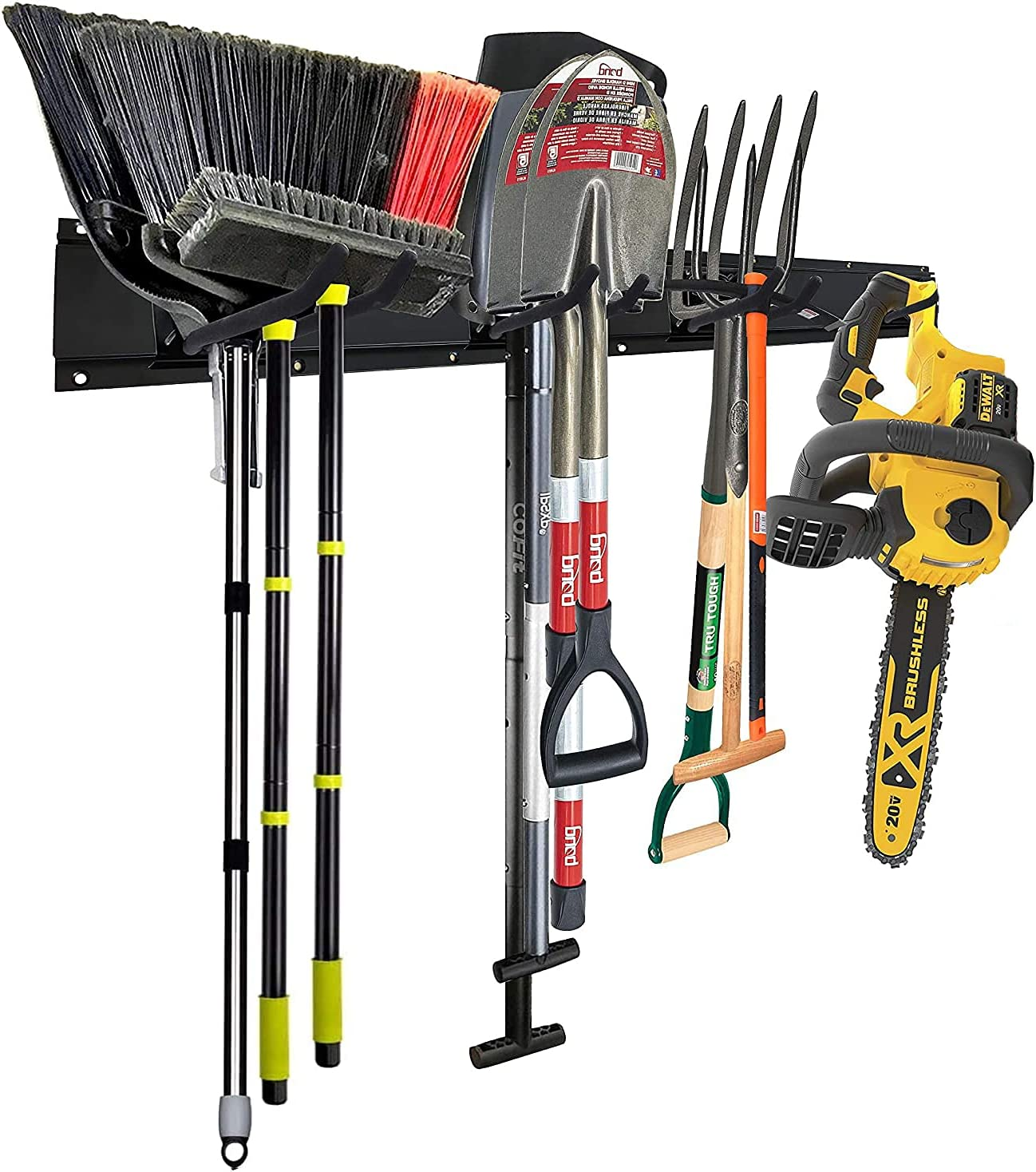 Garage Tool Organizers Storage Wall Mounted with 6 Removable Hooks and 2 Board, Super Heavy Duty Powder Coated Steel Garden Tool Hanger Rack for Bike, Chair, Broom, Mop, Rake Shovel & Tools