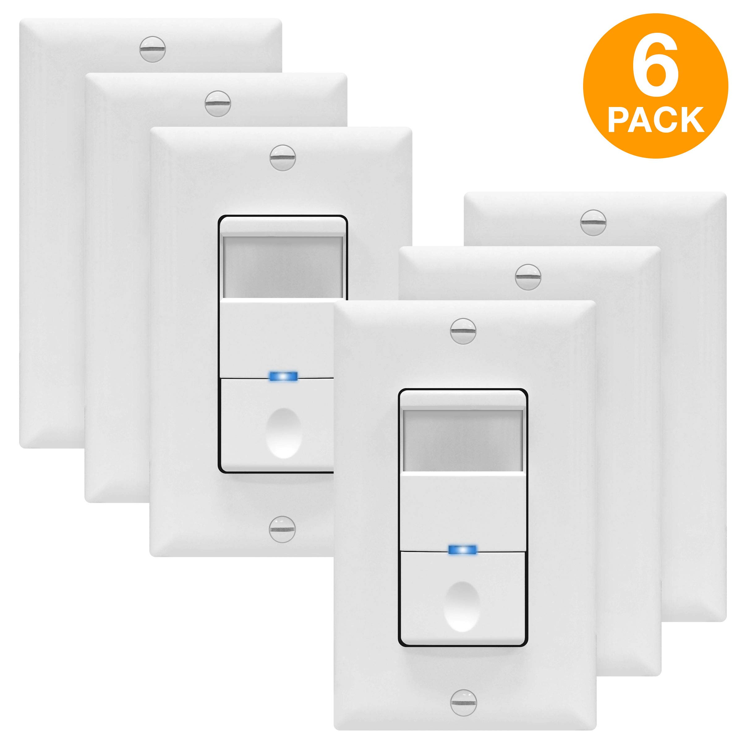 TOPGREENER Motion Sensor Switch, No Neutral Required, 4A, PIR Passive Infrared Sensor, Occupancy Sensor Wall Switch, 120-277VAC, 500W 1/8HP, Ground Wire Required, Single Pole, White, TDOS5-J, 6 Pack