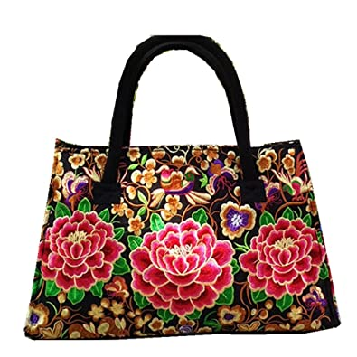 c4f8ca6db1 Image Unavailable. Image not available for. Color  Red Peony Embroidery  Women Handbag Shoulder ...