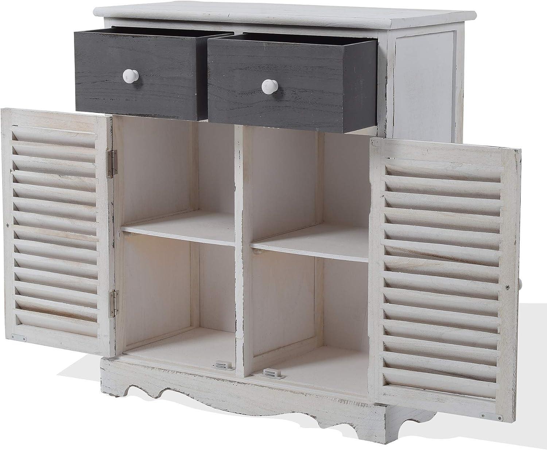 AxANxF para Entrada Cocina Rebecca Mobili Aparador Ahorra Espacio Decorativo RE6079 Madera Blanco Gris - Medidas: 70 x 60 x 30 cm Muebles Multiusos 2 cajones - Art con 2 Puertas
