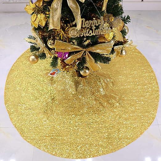 Zdada 48 Christmas Tree Shirt Sequin Tree Skirt Champagne Christmas Tree Decorations