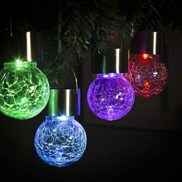 Gigalumi 8 Pack Christmas Hanging Solar Lights Multi Color Changing Cracked Glass Hanging Ball Lights Waterproof Outdoor Solar Lanterns For Garden Yard Patio Lawn Amazon Com